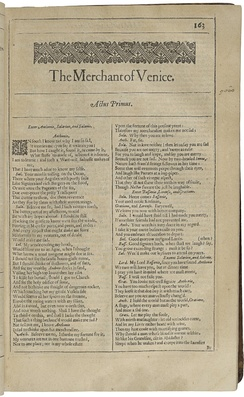 The first page of The Merchant of Venice, printed in the Second Folio of 1632