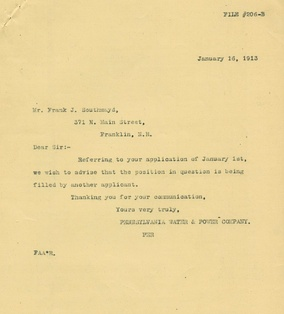 Rejection letter dated January 16, 1913[1]