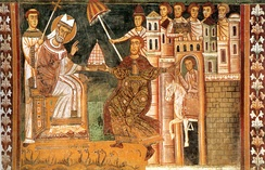 A 13th-century fresco of Sylvester and Constantine, showing the Donation of Constantine, Santi Quattro Coronati, Rome