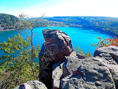 Tablet Rock Overlook in Wisconsin's Devils Lake State Park, located in the Baraboo Range