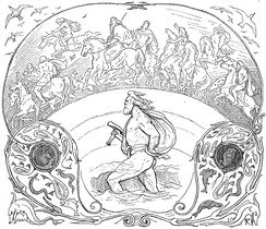 The god Thor wades through a river, while the Æsir ride across the bridge, Bifröst, in an illustration by Lorenz Frølich (1895).