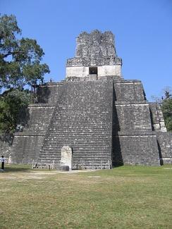 Tikal, temple pyramid with prominent roof comb
