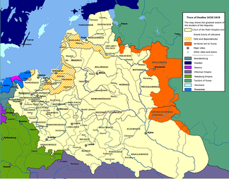 The Polish–Lithuanian Commonwealth at its greatest extent, after the Truce of Deulino of 1619
