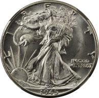 A 50-cent American silver coin dated 1945 and showing Lady Liberty walking, draped in the American flag