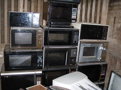 Microwave ovens, several from the 1980s