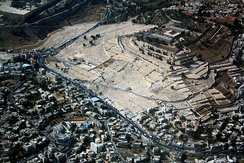 Aerial view of the ancient Jewish cemetery on Mount of Olives