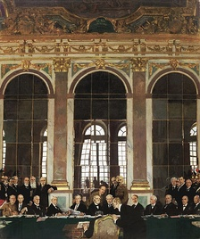 The Signing of Peace in the Hall of Mirrors, Versailles, 28 June 1919 by William Orpen