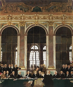 The signing of peace in the Hall of Mirrors, Versailles, 28 June 1919