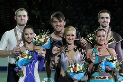 The 2012 medalists in the pair skating event