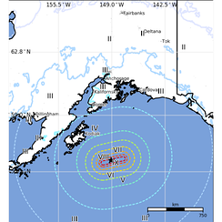Isoseismal map of the Alaska Earthquake in 2018 provided by the US Geological Survey