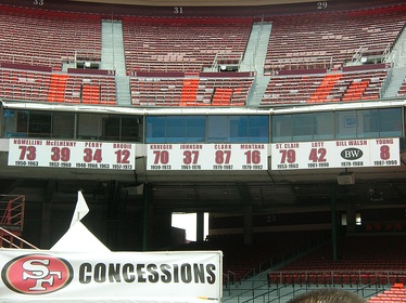 The 49ers' retired numbers displayed on the southeastern side of Candlestick Park in June 2009