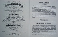 The first pages in Adolph Müller's accordion book
