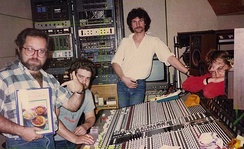 Richards (centre) with producer Peter Collins (left), Julian Mendelsohn (2nd left) and J. J. Jeczalik (right) in Sarm East Studios, London. 1984. Photograph c/o Andy Kinch.