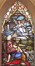 The Angel of the Lord window at St. Matthew's German Evangelical Lutheran Church in Charleston. South Carolina. Quaker City Glass Company, 1912