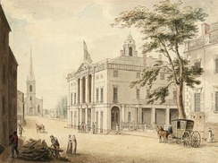 Archibald Robertson's View up Wall Street with City Hall (Federal Hall) and Trinity Church, New York City, from around 1798