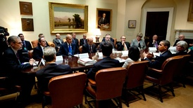 Obama administration meeting in the Roosevelt Room