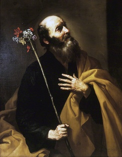 Saint Joseph with the Flowering Rod, by Jusepe de Ribera, early 1630s. Ribera conveys the unexpected wonder of the moment with the lighting from above. Brooklyn Museum