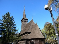 Traditional Romanian wooden church at Village Museum
