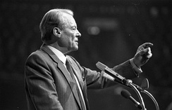 Willy Brandt talking at an SPD meeting in Dortmund, 1983