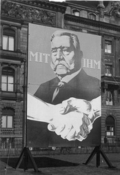 "Election poster for Hindenburg in 1932 (translation: ""With him"")"