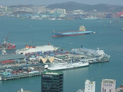 Port of Busan, Korea. Two Maersk vessels can be seen in the background.