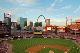 The St. Louis Cardinals playing at Busch Stadium