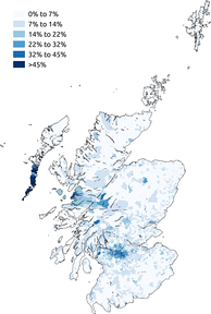 Percentage claiming to be Roman Catholic in the 2011 census in Scotland