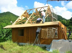 Construction of a house using bamboo. Bamboo-made houses are popular in China, Japan and other Asian countries, because of their resistance to earthquakes and hurricanes.