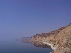The Jordanian shore of the Dead Sea, showing salt deposits left behind by falling water levels.