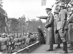 Hitler attends a Wehrmacht victory parade in Warsaw on 5 October 1939