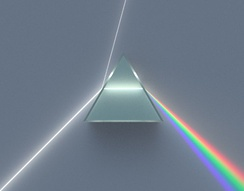 Illustration of a dispersive prism separating white light into the colours of the spectrum, as discovered by Newton