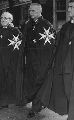 Douglas Fairbanks, Jr., robed as a Knight of Justice of the Order (1958)