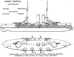 Right elevation and deck plan as depicted in Brassey's Naval Annual 1915