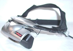 An HMD with a separate video source displayed in front of each eye to achieve a stereoscopic effect