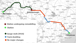 Route for Felixstowe to Nuneaton freight capacity scheme