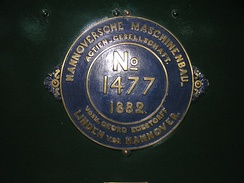 Builder's Plate of Hannoversche Maschinenbau locomotive No 1477 of 1882 0-6-0 at the Finnish Railway Museum