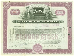 Share of the Flint Motor Company, issued 14. August 1923