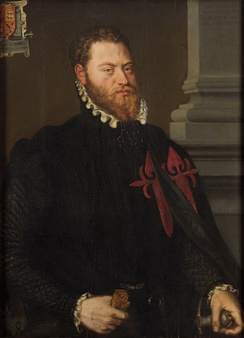 Portrait of Íñigo López de Mendoza with the embroidered cross of the order, by Frans Pourbus the Elder