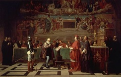 Galileo being condemned in 1633.