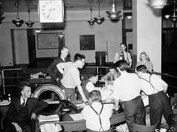 Globe and Mail staff await news of the D-Day invasion. June 6, 1944.