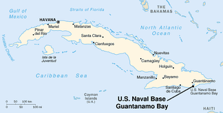 Map of Cuba showing location of Guantánamo Bay on the southeastern coast.