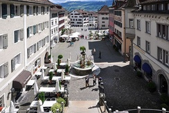 Rapperswil Hauptplatz (main square), former Rathaus (town hall) to the right