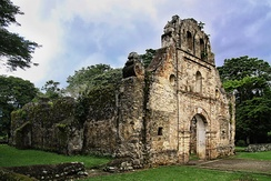 The Ujarrás historical site in the Orosí Valley, Cartago province. The church was built between 1686 and 1693.