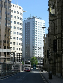Infirmary Street in the heart of Leeds's Financial District