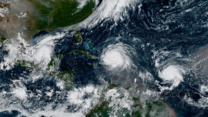 Three simultaneously active hurricanes on September 7. From left to right: Katia, Irma, and Jose, the first occurrence since 2010.