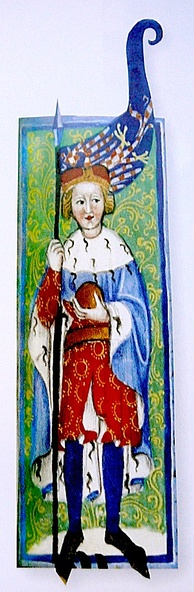A young man wearing a ducal crown with a flag in his hand