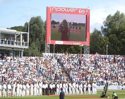 Jenkins sings the Welsh national anthem at Sophia Gardens before the start of the 2009 Ashes.