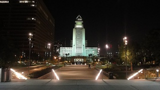 City Hall at night from Grand Park.