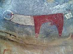 Neolithic rock art at the Laas Geel complex depicting a long-horned cow.