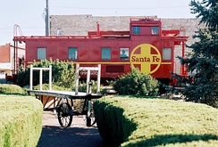 This railroad caboose serves as the drive-up window for The State Bank.